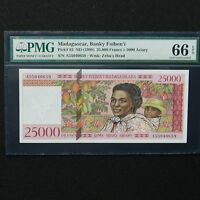 ND 1998 Madagascar 25.000 Francs, Pick # 82, PMG 66 EPQ Gem Unc
