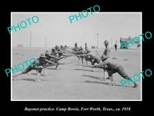 OLD LARGE HISTORIC PHOTO OF FORT WORTH TEXAS, CAMP BOWIE BAYONET TRAINING 1918