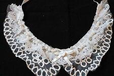 Dentelle blanche peter pan col floral guipure vintage collier ruban applique