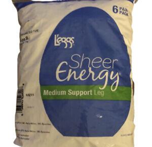 6 Pair Pack LEGGs Pantyhose Sheer Energy Size B Taupe 16 Medium Support leg