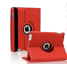 Ipad 2 3 4 Case Red 360 Degree Rotating Folio Case W/ Automatic Wake/Sleep Featu