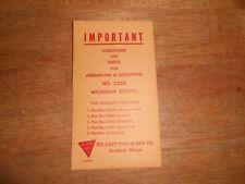 Nylint 1955 No. 2200 Michigan Shovel Parts Envelope.