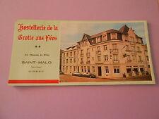 Lot de Dépliant Hostellerie de la Grotte aux Fées Saint Malo