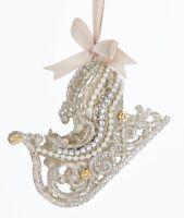 Kurt Adler Vintage Look Glamour Platinum Glitter Sleigh Holiday Ornament