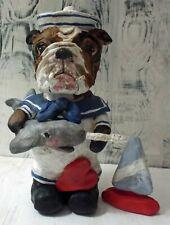 New Folk Art English Bulldog  Sword Fish Sculpted Navy Style Doll Vintage Look