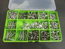 Box of 270 Assorted Flange Pozi Pan Self Tapping Screws. A2-70 Stainless Steel.