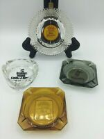 Vintage Retro Amber Glass Cigarette Cigar Ashtray Best Western Harrahs Lot of 4