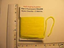 5M CONFEZIONE 1 (3.5 mm di diametro) IN NYLON ciniglia in giallo fluorescente, vola la vendita abbinata