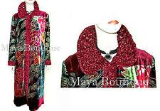 Opera Coat Duster Wearable Art Silk Velvet Peacock Red Multi Long Lined XL / 1X