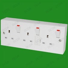 1 to 3 Gang Converter 13A Mains Triple Wall 3 Pin Socket, Individually Switched