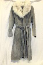 Leather Attic VINTAGE Suede Long Dress Coat Faux Fur Collar Grey Size 15/16