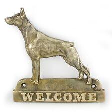 Doberman pincher - brass tablet with image of a dog, Art Dog USA