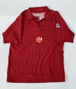 Bulwark FR Flame Resistant Red Short Sleeve Shirt Sz Large 1/4 Zip IQ Series
