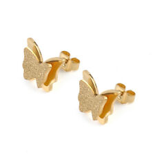 1 Pair Woman Fashion Titanium Stainless Steel Chic Butterfly Earrings 3 Colors