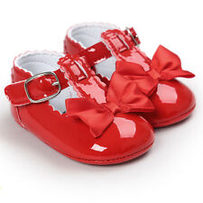 Baby Newborn Girl Princess Grib Shoes Leather Soft Sole Sneaker Christening Pram Red 6 12 Months