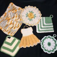 Vintage Mid Century Hand Crocheted Doilies Potholders Lot of 6 Yellow Green