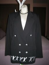 Majestic Paris Women's Black Wool Gabardine Jacket Size L