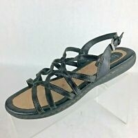 B.O.C Born Concept Black Strappy Adjustable Ankle Strap Sandals Womens Size 8 M