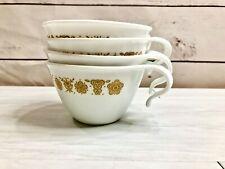 Vintage Corning Corelle Butterfly Golden Coffe Tea Cups Hook Handle Set of 4