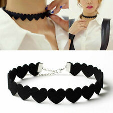 Women Punk Black Heart Velvet Choker Bib Collar Pendant Necklace Cute