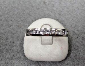 Princess Cut Diamond Band size 8 14k White Gold