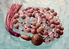 Heart Chakra Rose Quartz & Rhodonite Pink Knotted Mala Beads Unconditional love