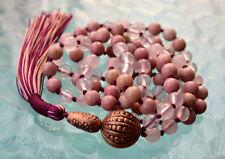 Heart Chakra Rose Quartz & Rhodonite Pink Knotted Mala Beads Unconditional love