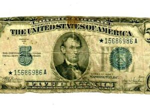"$5 STAR ""1934-C ""SILVER CERTIFICATE"" 1934-C ""STAR  $5 STAR""STAR""STAR!! ROUGH!!"