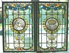 Antique Signed Pair SWAINE BOURNE QUEEN VICTORIA 1901 Stained Glass Jewel Window