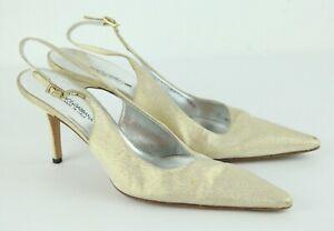 Dolce & Gabbana 39 1/2 Slingback Shoe Pointed Toe Heels Gold Metallic Fabric