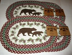 """RUSTIC LODGE 100% Cotton  Braided BEAR & CUB Oval Placemat's 13""""x19"""" Set of 4"""