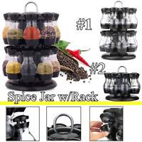 8/16 Jars Rotating Spice Rack Carousel Kitchen Storage Holder Revolving