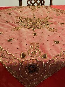 "Handbeaded handmade Square Table Accent Stones Sequins 39""x36.5"" Home Decor Boho"