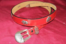 Women's Size 32 (31 – 35) Waist Red US Leather Western Cowgirl Cowboy Rodeo Belt