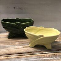 Lot Set 2 Art Deco Style Glazed Pottery Planters Yellow & Green Mid-Century