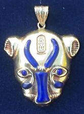 Sekhmet 18ct Gold Pendant inlaid with Lapis Lazuli (Hallmarked)