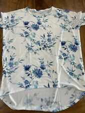 Lularoe Irma Large L White Blue Roses Floral Flowers Super Rare  New Print NWT