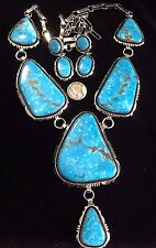Real Old Birdseye Kingman Turquoise Necklace set TByrd design Navajo WDenetdale