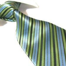 "Extra Long Polyester Woven Tie,Microfibre Green/Black/Blue XL Necktie PL356 63"""