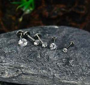 18G, 16G, 14G F136 Titanium Push Pin Labret With CZ, Threadless Labret, Earring