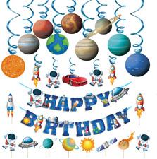 Kids Birthday Space Party Decoration - Blue Astronaut Spaceship Theme Happy Birt