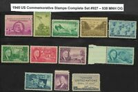 Mr B's 1945 Complete Year Set US Stamps #927-938  MNH OG VF/XF - FREE SHIPPING!