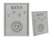 "White Wooden Key Box Holder Cabinet Wall Mounted "" I Love My Home """