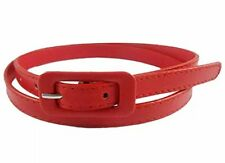 Ladies Women Fashion SKINNY Leather Thin Waist Belt UK Fast Ship Red
