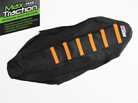 KTM EXC EXCF EXC/F 2008-2011 RIBBED GRIPPER SEAT COVER BLACK WITH ORANGE STRIPES