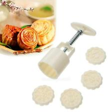 50g Round Flower Moon Cake Mold Mould White Set Mooncake Decor Mould Stamp DIY