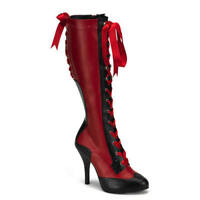"Bordello 4.5"" Red/Black Corseted Hidden Platform Knee Boots Victorian Goth 6-12"