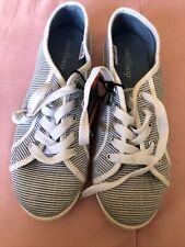 West loop Women Blue Striped Flat Memory Foam Slip On Lace Up Sneaker Shoe S(5/7