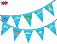 Sea Creatures Happy Birthday Mix Themed Bunting Banner 15 flags by PARTY DECOR
