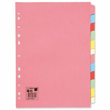 10 Set 12-part File Plain Tab Card Dividers A4 Indexes Coloured ¸ 330925